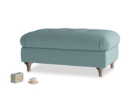 Rectangle Jammy Dodger Footstool in Marine washed cotton linen