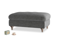 Rectangle Jammy Dodger Footstool in Shadow Grey wool