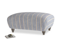 Rectangle Homebody Footstool in Brittany Blue french stripe