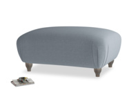 Rectangle Homebody Footstool in Blue Storm washed cotton linen