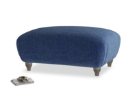 Rectangle Homebody Footstool in Ink Blue wool