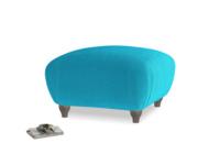 Small Square Homebody Footstool in Azure plush velvet