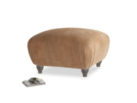 Small Square Homebody Footstool in Walnut beaten leather