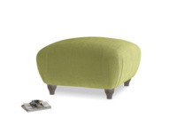 Small Square Homebody Footstool in Olive plush velvet