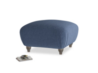 Small Square Homebody Footstool in Navy blue brushed cotton