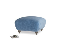 Small square footstool Homebody Footstool in Hague Blue cotton mix