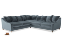 Even Sided Oscar Corner Sofa  in Mermaid plush velvet