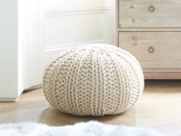 Bug knitted footstool pouffe in Oatmeal