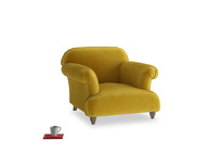 Soufflé Armchair in Burnt yellow vintage velvet