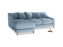 Large left hand Oscar Chaise Sofa in Chalky blue vintage velvet