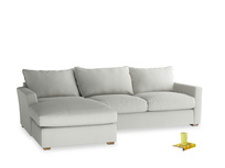 Xl Left Hand Pavilion Chaise Sofa in Mineral Grey Clever Linen