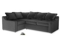 Large Left Hand Cloud Corner Sofa in Scuttle grey vintage velvet