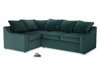 Large Left Hand Cloud Corner Sofa in Timeless teal vintage velvet