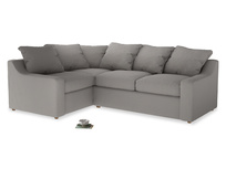 Large Left Hand Cloud Corner Sofa in Safe grey clever linen