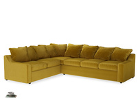 Xl Left Hand Cloud Corner Sofa in Burnt yellow vintage velvet