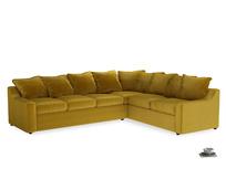 Xl Right Hand Cloud Corner Sofa in Burnt yellow vintage velvet