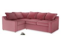 Large left hand Cloud Corner Sofa Bed in Blushed pink vintage velvet