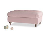 Rectangle Jammy Dodger Footstool in Chalky Pink vintage velvet