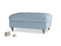 Rectangle Jammy Dodger Footstool in Chalky blue vintage velvet