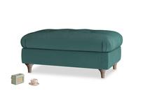 Rectangle Jammy Dodger Footstool in Timeless teal vintage velvet