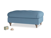 Rectangle Jammy Dodger Footstool in Easy blue clever linen