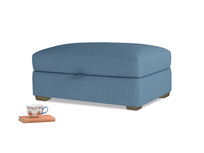 Bumper Storage Footstool in Easy blue clever linen