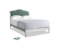 Double Coco Bed in Scuffed Grey in Sea blue vintage velvet