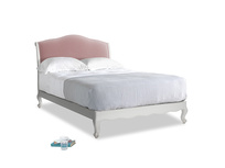 Double Coco Bed in Scuffed Grey in Chalky Pink vintage velvet