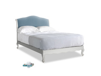 Double Coco Bed in Scuffed Grey in Chalky blue vintage velvet