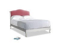 Double Coco Bed in Scuffed Grey in Blushed pink vintage velvet