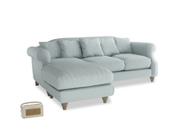 Large left hand Sloucher Chaise Sofa in Duck Egg vintage linen