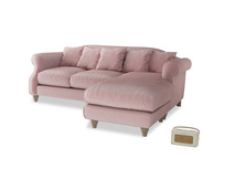 Large right hand Sloucher Chaise Sofa in Chalky Pink vintage velvet