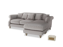 Large right hand Sloucher Chaise Sofa in Soothing grey vintage velvet