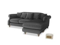 Large right hand Sloucher Chaise Sofa in Scuttle grey vintage velvet