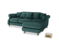 Large right hand Sloucher Chaise Sofa in Timeless teal vintage velvet