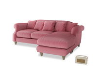 Large right hand Sloucher Chaise Sofa in Blushed pink vintage velvet
