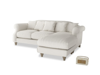 Large right hand Sloucher Chaise Sofa in Oyster white clever linen