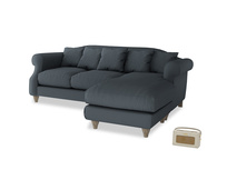 Large right hand Sloucher Chaise Sofa in Lava grey clever linen