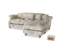 Large right hand Sloucher Chaise Sofa in Pink vintage rose