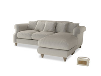 Large right hand Sloucher Chaise Sofa in Smoky Grey clever velvet