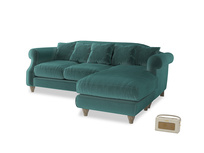 Large right hand Sloucher Chaise Sofa in Real Teal clever velvet