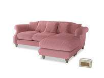 Large right hand Sloucher Chaise Sofa in Dusty Rose clever velvet