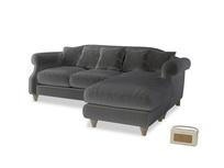 Large right hand Sloucher Chaise Sofa in Steel clever velvet