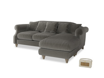 Large right hand Sloucher Chaise Sofa in Slate clever velvet
