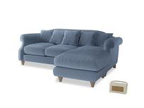 Large right hand Sloucher Chaise Sofa in Winter Sky clever velvet