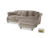 Large right hand Sloucher Chaise Sofa in Fawn clever velvet
