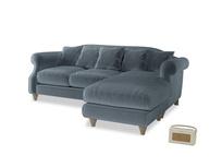 Large right hand Sloucher Chaise Sofa in Mermaid plush velvet