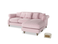 Large right hand Sloucher Chaise Sofa in Pale Rose vintage linen