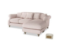 Large right hand Sloucher Chaise Sofa in Faded Pink brushed cotton