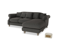 Large right hand Sloucher Chaise Sofa in Old Charcoal brushed cotton